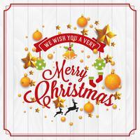 Ilustração de Natal e feliz ano novo com tipografia e ir vetor