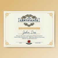 Certificado elegante vintage de conquista