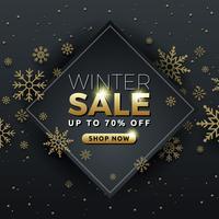 Design de modelo de banner de fundo de venda de inverno com floco de neve vetor