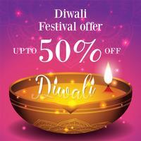 Fundo de banner e cartaz de venda festival de Diwali vetor