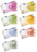 Conjunto de notas de euro vetor
