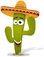 Caráter de cacto mexicano dos desenhos animados vetor