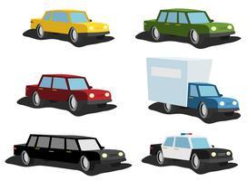 Conjunto de carros dos desenhos animados vetor