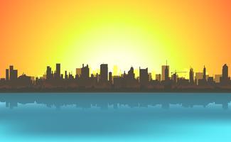Fundo de paisagem urbana de verão vetor