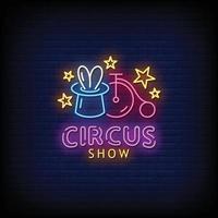 circo mostrar vetor de texto de estilo de sinais de néon