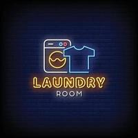 Vetor de texto de estilo de sinais de néon de lavanderia