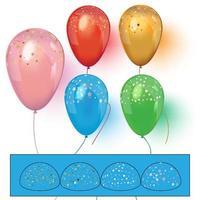 balões coloridos realistas com vetor realista de confete