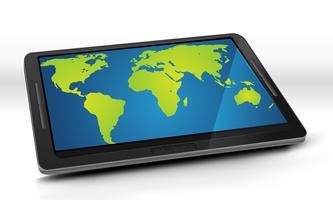 Mapa do mundo no Tablet PC vetor
