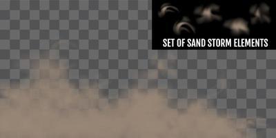 conjunto realista de elementos de tempestade de areia ou poeira vetor