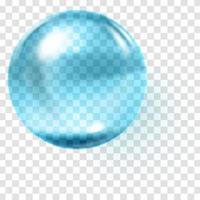 esfera de vidro azul realista esfera azul transparente vetor