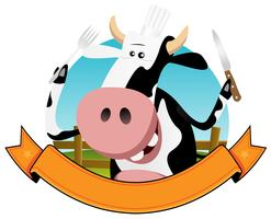 Banner de vaca dos desenhos animados vetor