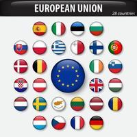 bandeiras da União Europeia e membros. vetor