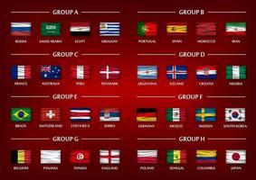 conjunto de grupo de time da copa de futebol. realistas onduladas bandeiras nacionais sobre fundo gradiente de cor vermelha. vetor para o torneio do campeonato mundial internacional 2018.