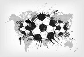 futebol abstrato grunge com mapa-múndi e partícula de poeira em fundo gradiente cinza. design plano. vetor para a copa do torneio do campeonato mundial internacional 2018.