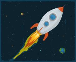 Navio de foguete passando pelo espaço vetor