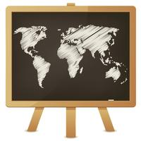 Mapa-múndi no quadro-negro da sala de aula vetor