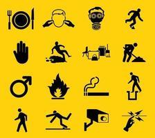 sinais de aviso, rótulos de ícone de riscos industriais assinar isolado no fundo branco, ilustração vetorial vetor