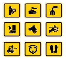 etiquetas de símbolos de perigo aviso assinar isolado no fundo branco, ilustração vetorial vetor