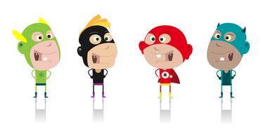 Caricatura, super heróis, crianças, tripulação vetor