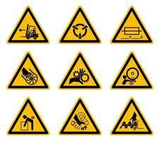etiquetas triangulares de símbolos de perigo de aviso em fundo branco vetor