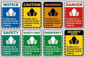 sinal de ppe possível co2 ou amônia presente, respirador pode ser necessário vetor