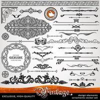 elementos de design caligráfico e decoração de página exclusivos, da mais alta qualidade vetor