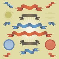 Banners Vintage Retro, Fitas E Bandeiras vetor