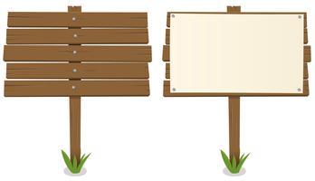 Placa de madeira dos desenhos animados vetor