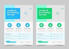 modelo de folheto de serviço de lavanderia. cartaz de serviço de lavanderia criativa. modelo de folheto de serviço de limpeza de lavanderia vetor