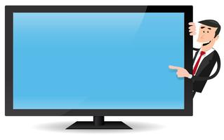 Homem, apontar, tela plana, tv vetor