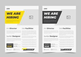 estamos contratando design de panfleto. estamos contratando modelo de pôster. design de modelo de folheto de folheto de vaga de emprego vetor