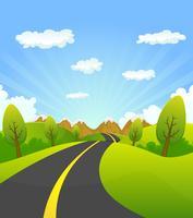 Primavera ou verão estrada para a montanha