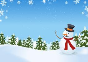 Boneco de neve na paisagem de inverno vetor
