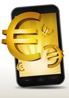 Euros dourados dentro do smartphone