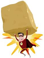 Super-herói vermelho levantando pesado Big Rock