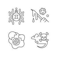Conjunto de ícones lineares de fonte de disseminação de infecção vetor