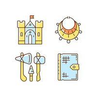conjunto de ícones de cores rgb escavação de antiguidades vetor