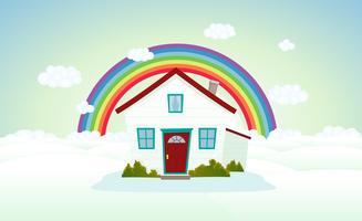 Casa nas nuvens com arco-íris