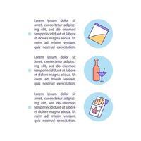 ícones de linha de conceito de abuso de drogas com texto vetor