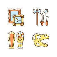 conjunto de ícones de cores rgb de escavação arqueológica vetor