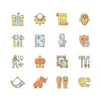 conjunto de ícones de cores rgb de patrimônio e museu vetor