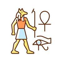 desenho de parede egípcio ícone de cor rgb vetor