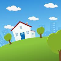 Casa em uma terra arredondada vetor