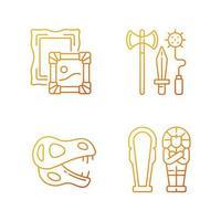Conjunto de ícones do vetor linear gradiente de escavação arqueológica. pinturas. arma do cavaleiro. esqueleto de dinossauro. sarcófago. feixe de símbolos de contorno de linha fina. coleção de ilustrações de contorno vetorial isolado
