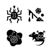 infecção espalhar ícones de glifo preto de origem definida no espaço em branco. ameaça perigosa para vidas humanas. risco de microorganismos. toxina de inseto. doenças perigosas. símbolos de silhueta. ilustração isolada do vetor