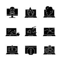 danos ao computador ícones de glifo preto definidos no espaço em branco. caderno em chamas. fumaça do teclado. tela do monitor travada. tela rachada. problemas do laptop. símbolos de silhueta. ilustração isolada do vetor