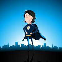 Senhora super azul dos desenhos animados