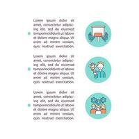 reunião de negócios e ícones de linha de conceito de conferência com texto. modelo de vetor de página ppt com espaço de cópia. folheto, revista, elemento de design de boletim informativo. Ilustrações lineares de trabalho em equipe em branco