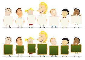 Professor, mulher, com, crianças, sala aula, segurando, sinais