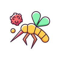 ícone de cor de rgb de insetos. insetos venenosos perigosos espalham doenças e enfermidades. infecção de sangue. risco biológico. vírus de propagação de mosquitos. ilustração vetorial isolada vetor
